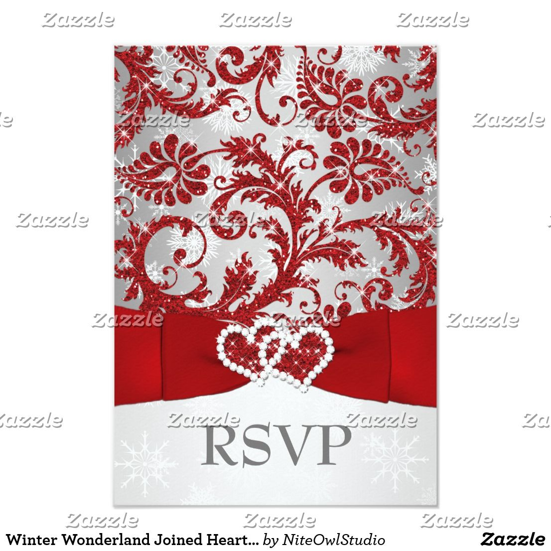 Winter Wonderland Joined Hearts Wedding RSVP - Red Invitation ...