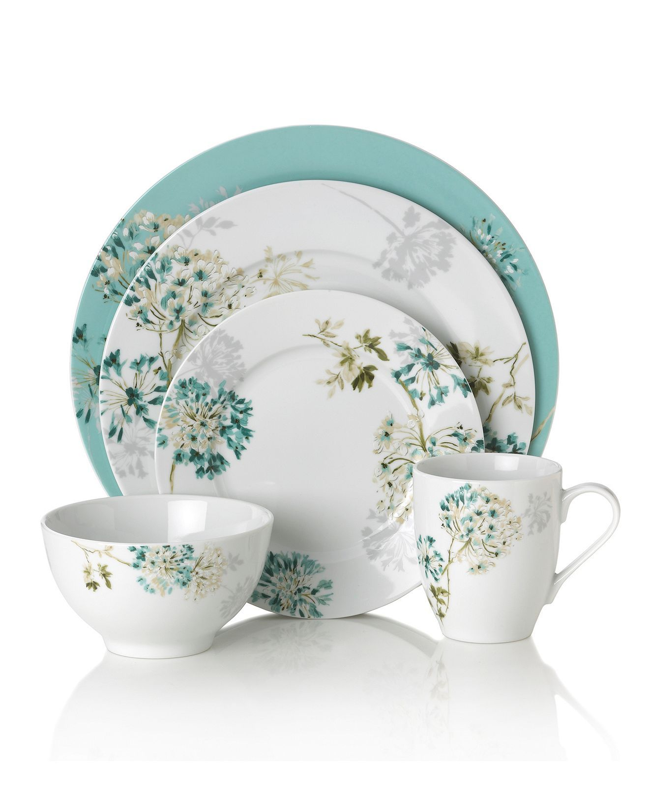 Mikasa Dinnerware Teal Silk Floral Collection Casual Dinnerware Dining Amp Entertaining