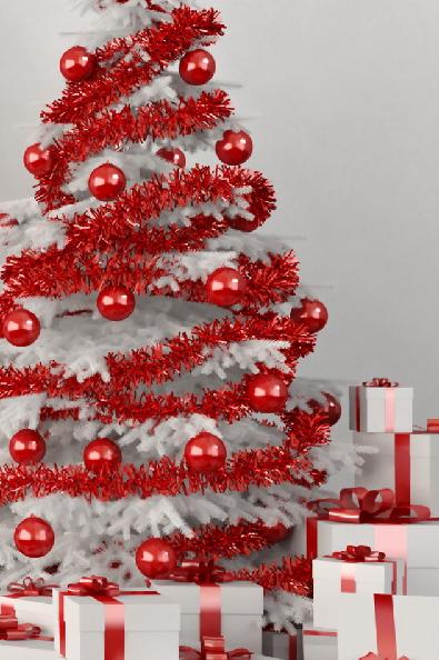 Kerstboom Rood Wit Witte Kerstbomen Rode Kerstbomen Versierde Kerstbomen