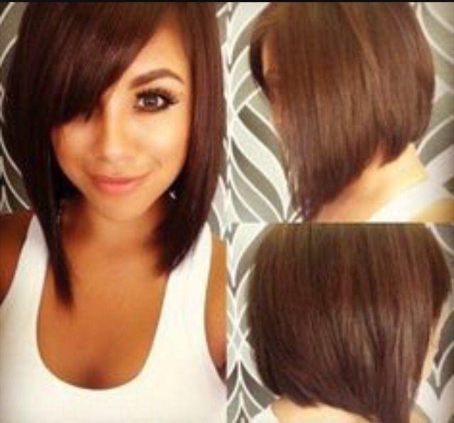 Angled Asymmetric Hair With Chunky Bangs On A Round Face Hair Styles Short Hair Styles Easy Short Hair Styles