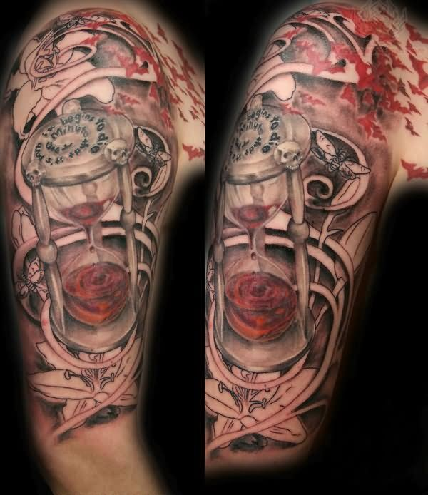 roses and clock tattoos on half sleeve photo 2 tattoos pinterest tattoo hourglass. Black Bedroom Furniture Sets. Home Design Ideas