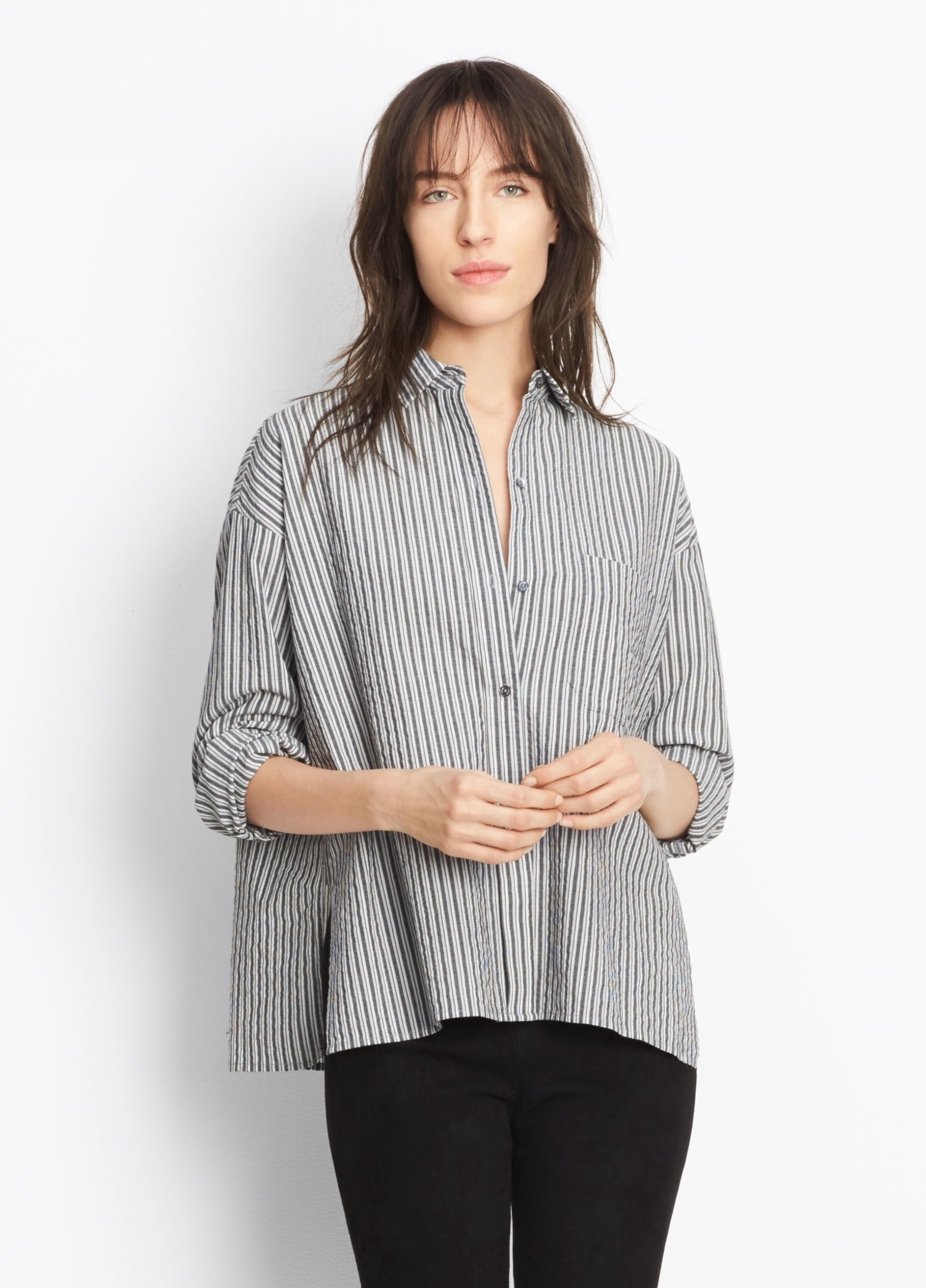23dcb001c0e86 VINCE Striped Boxy Shirt - Black Grey White.  vince  cloth  all ...