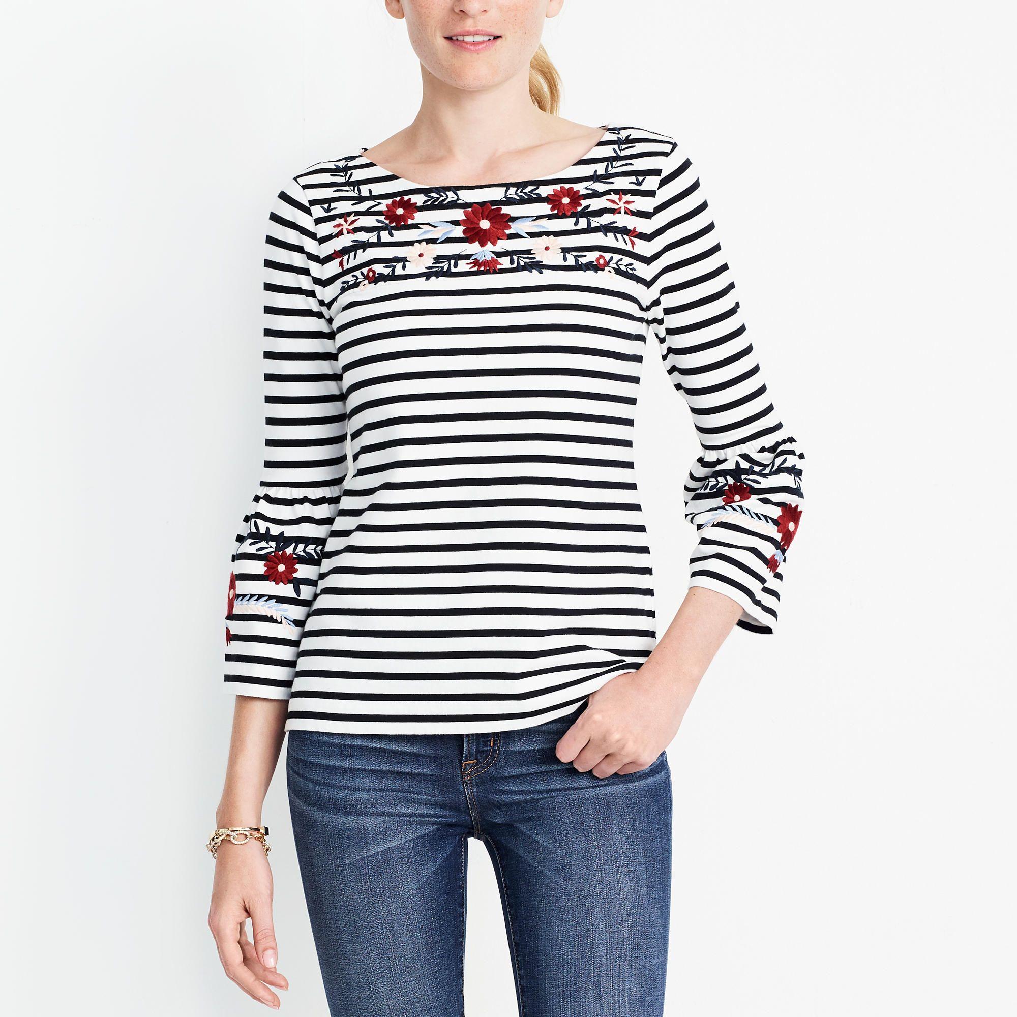 Embroidered striped bellsleeve tshirt fashion womens