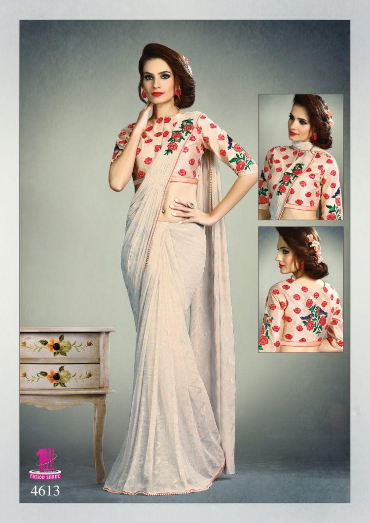 386d11ce5c7811 Pearl White Color Fancy Knit Designer One Minute Saree - ClickOnBazar