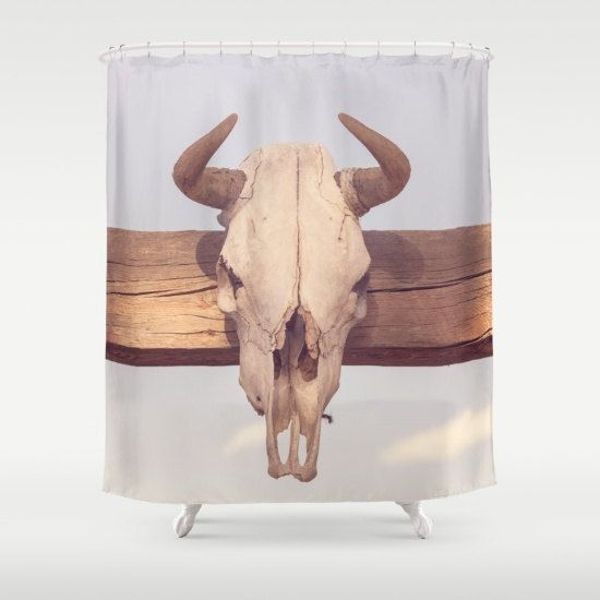 western shower curtain animal skull by