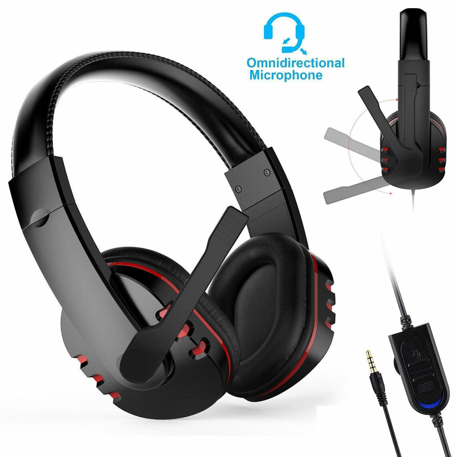 3.5mm Gaming Headset MIC LED Headphones Surround for PC