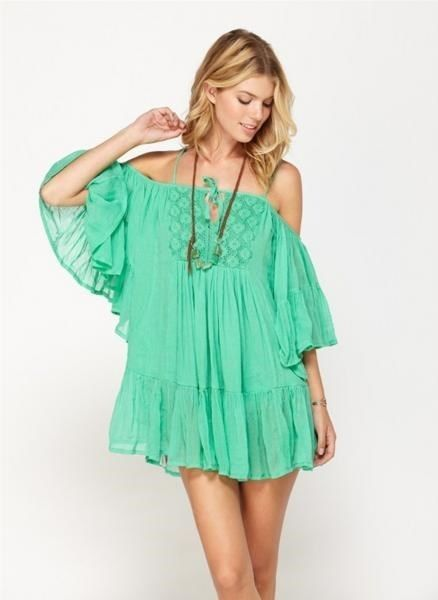 1b7614cd9c Roxy Green Beach Dreamer Guaze Off Shoulder Swimsuit Cover Up Dress L Large  NWT #Roxy #CoverUp