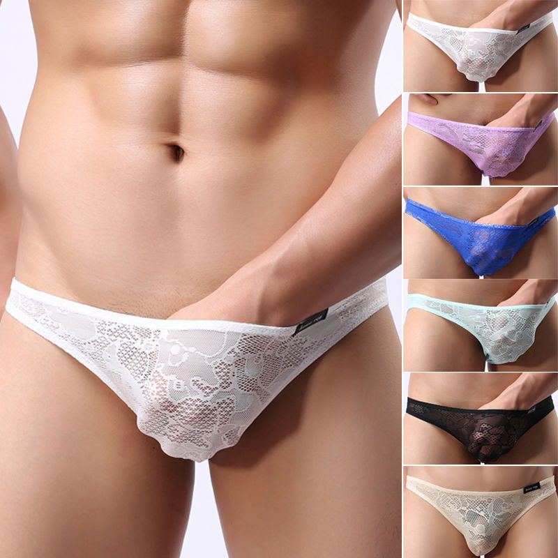 2f46ebf5b620 $2.07 - Men Underwear Y-Front Brief Lace See Through Bottom Trunks  Underpants Nightwear #