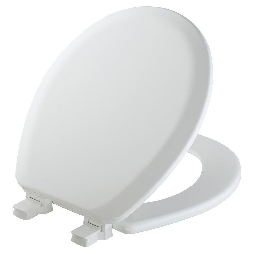 Mayfair Round Molded Wood Toilet Seat In White With Easy Clean