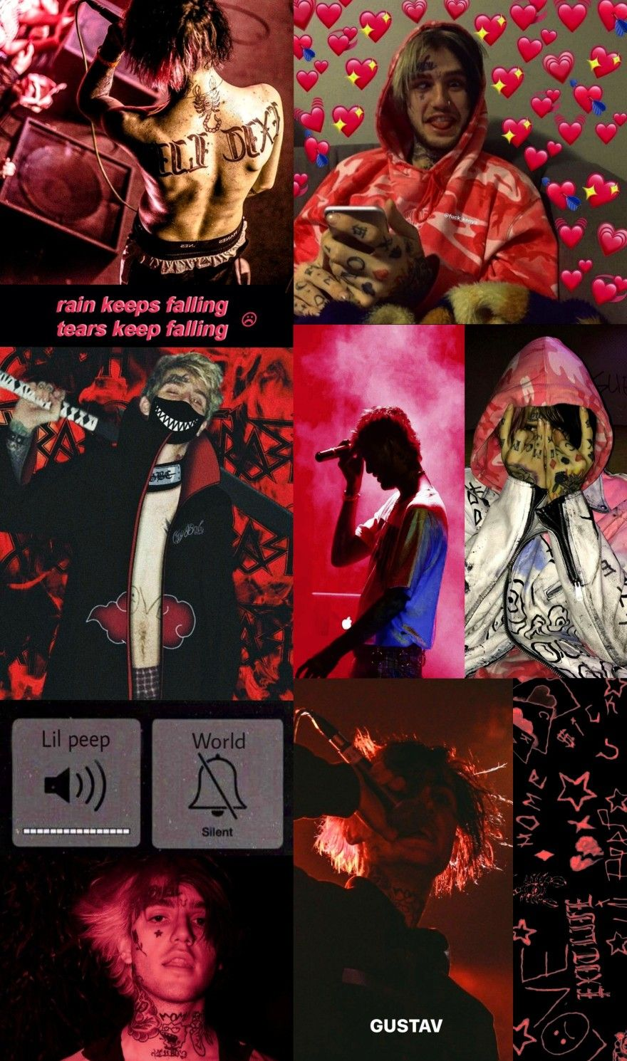Lilpeep Red Rip Lilpeepforever Collage Gustav Lil Peep