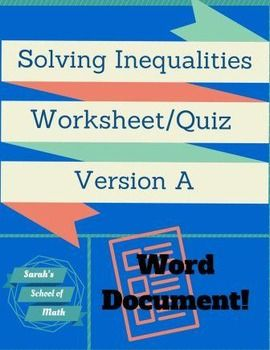 Solving Graphing Inequalities Worksheet Assessment Version A