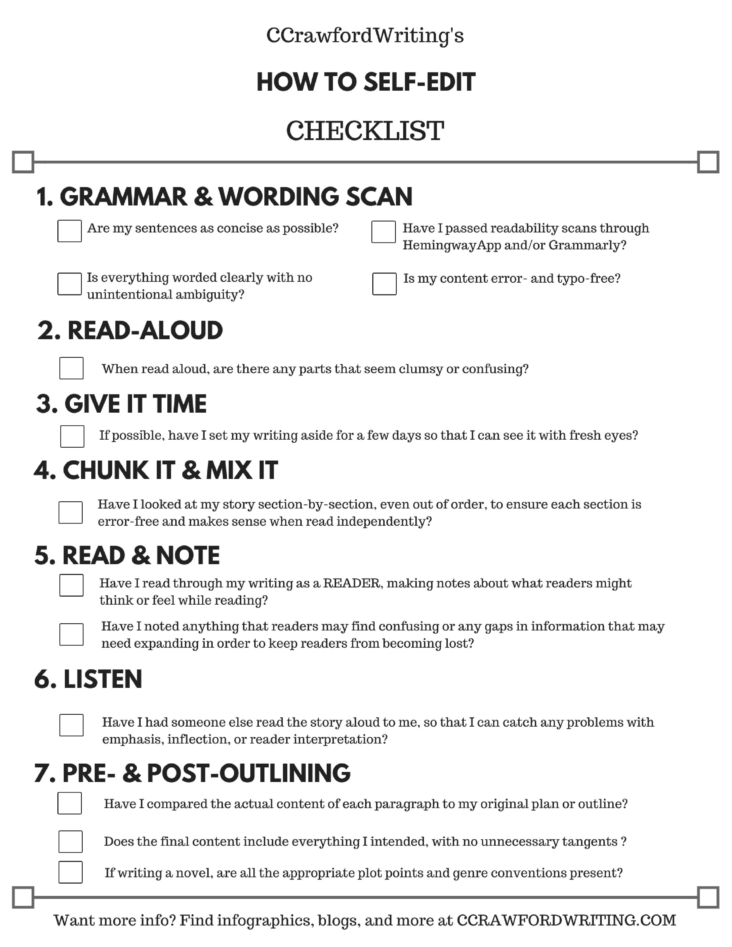 How To Self Edit Checklist