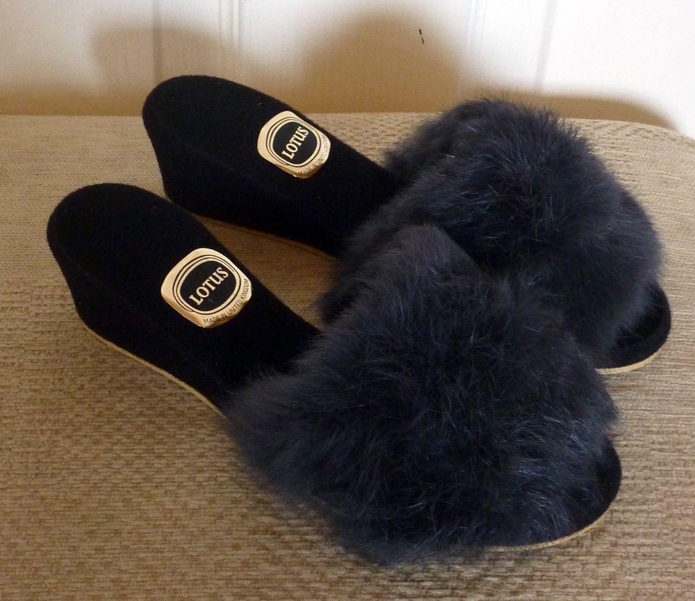 ee23c17d64ace Lotus Sexy Vintage Peep Toe Rabbit Fur Boudoir Mule Slippers Shoes ...