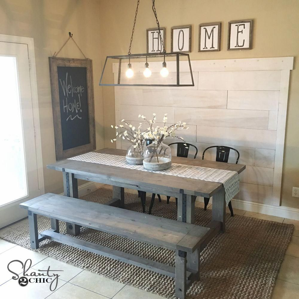 Diy Plank Wall Farmhouse Dining Room Lighting Farmhouse Dining Farmhouse Dining Room