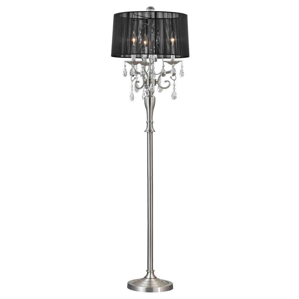 crystal chandelier floor lamp. Crystal Chandelier Floor Lamp With Black Drum Shade In Satin Nickel O