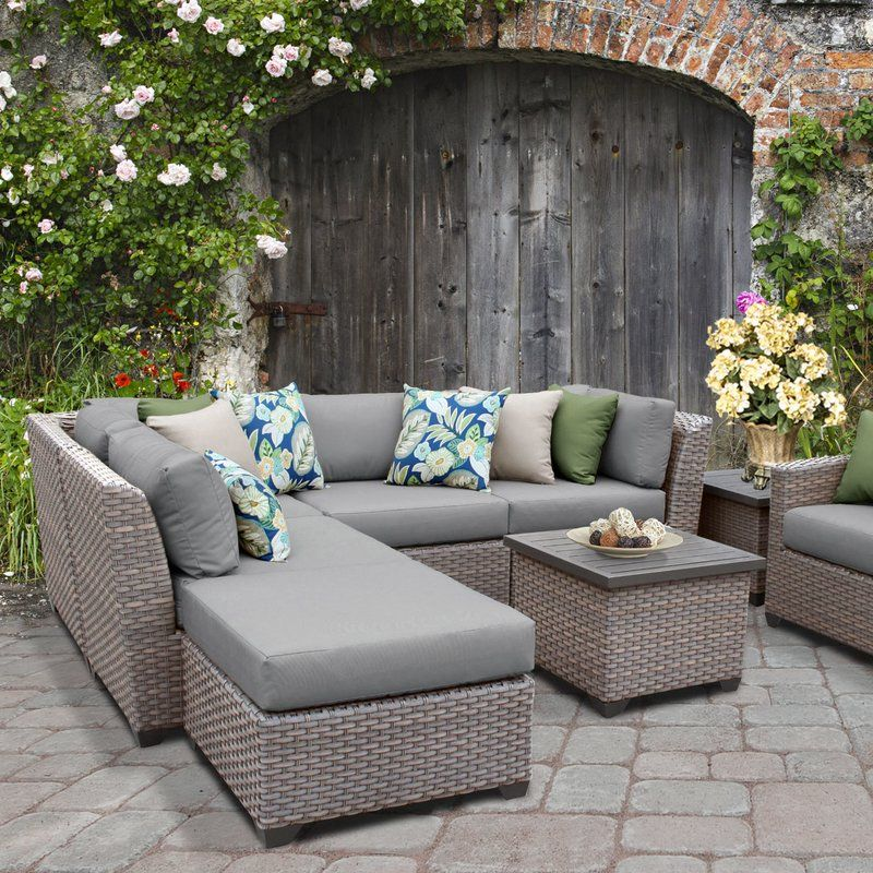 Commons Outdoor Wicker 8 Piece Sectional Seating Group