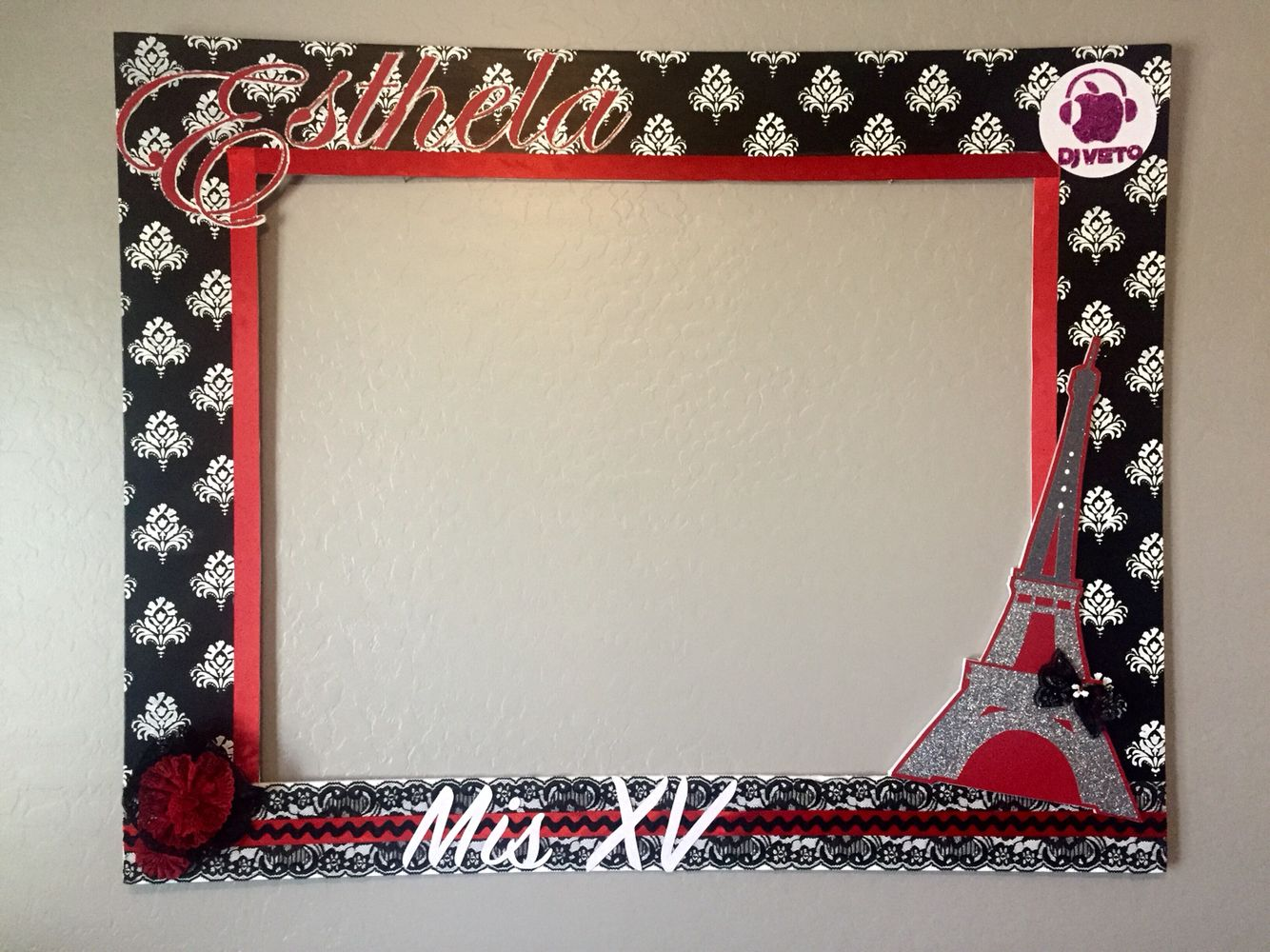 your photos with my party frames on quinceaera theme paris colors black red