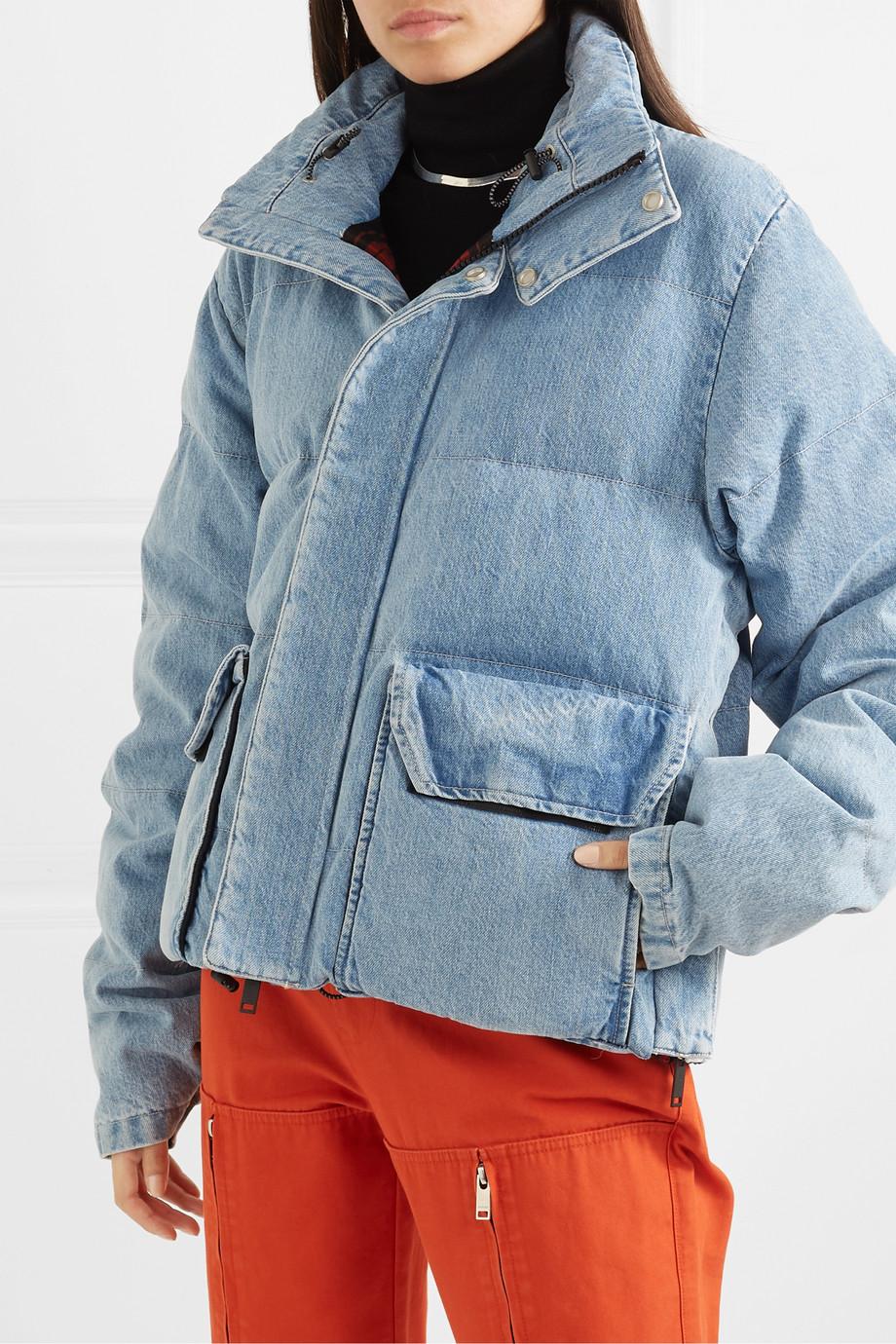 Blue Quilted Denim Coat Unravel Project In 2020 Denim Coat Vintage Denim Jacket Denim Details