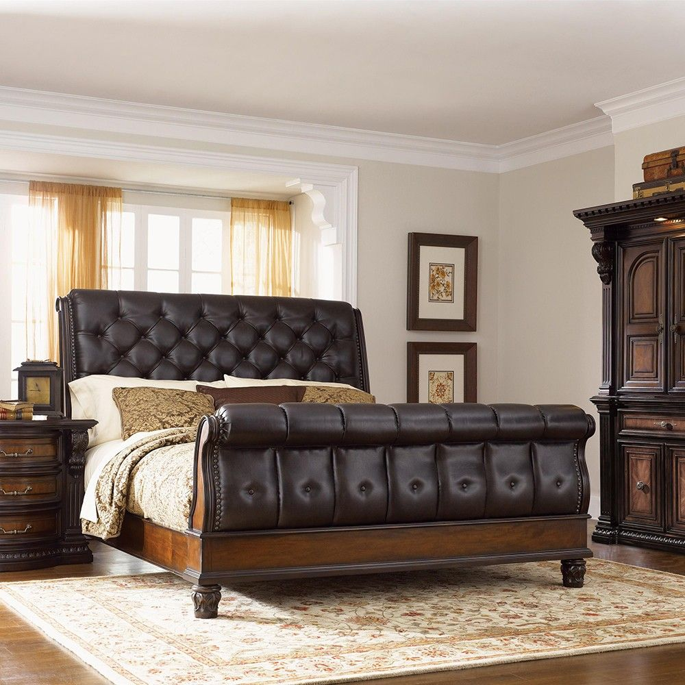 Grand estates bedroom package queen leather sleigh bed for Bedroom designs with sleigh beds