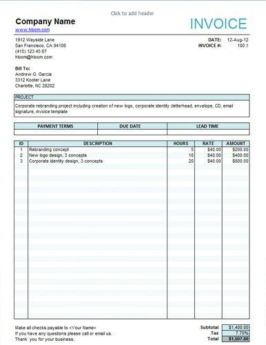 Service-Invoice-For-Freelancers | Estimate Form | Pinterest