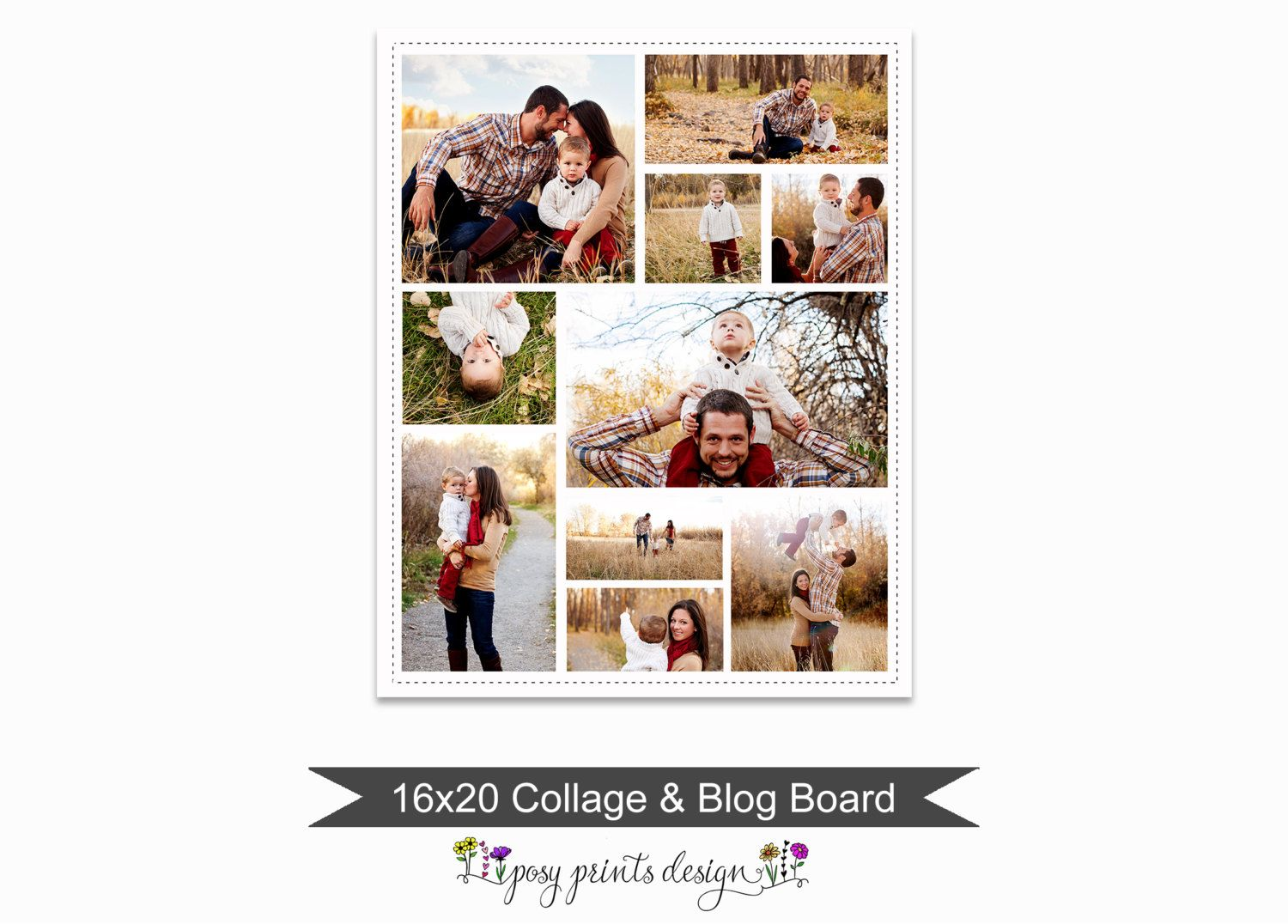 Blog Board Collage Template 16x20 Social By Posyprintsdesign