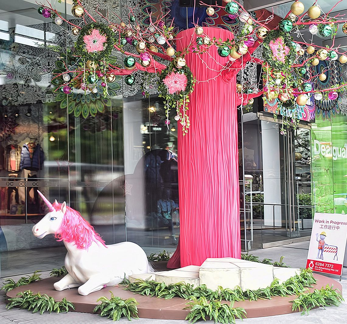 Christmas Decorations Store In Singapore: This Christmas Decoration Of A Pink Tree And Goat Can Be