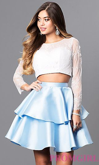 466f3f54633 Two-Piece Short Prom Dress with Lace Top at PromGirl.com