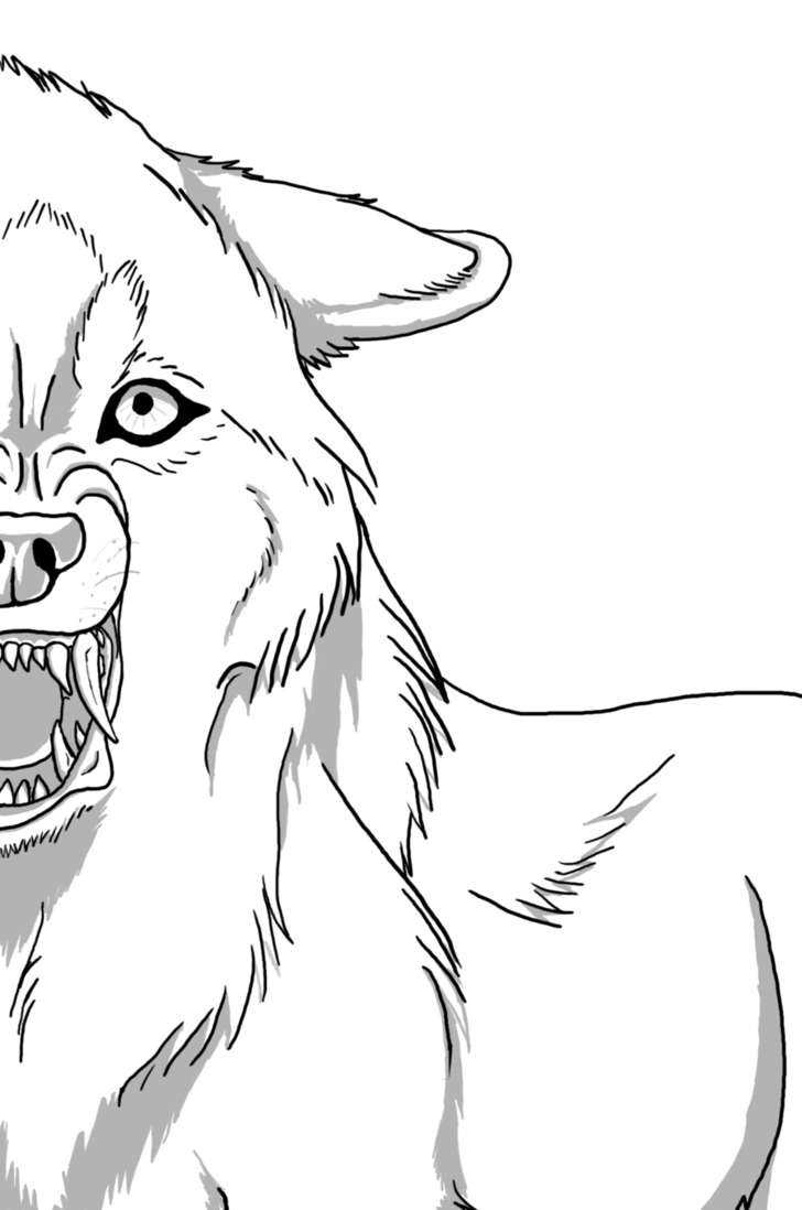 Snarling Wolf Lineart