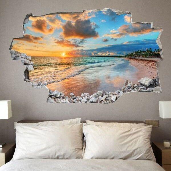 Adesivo da muro 3d in vinile con tramonto saldi su lesara