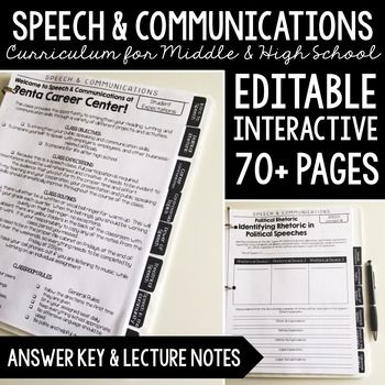 Speech & Communications Curriculum: Editable Portfolio