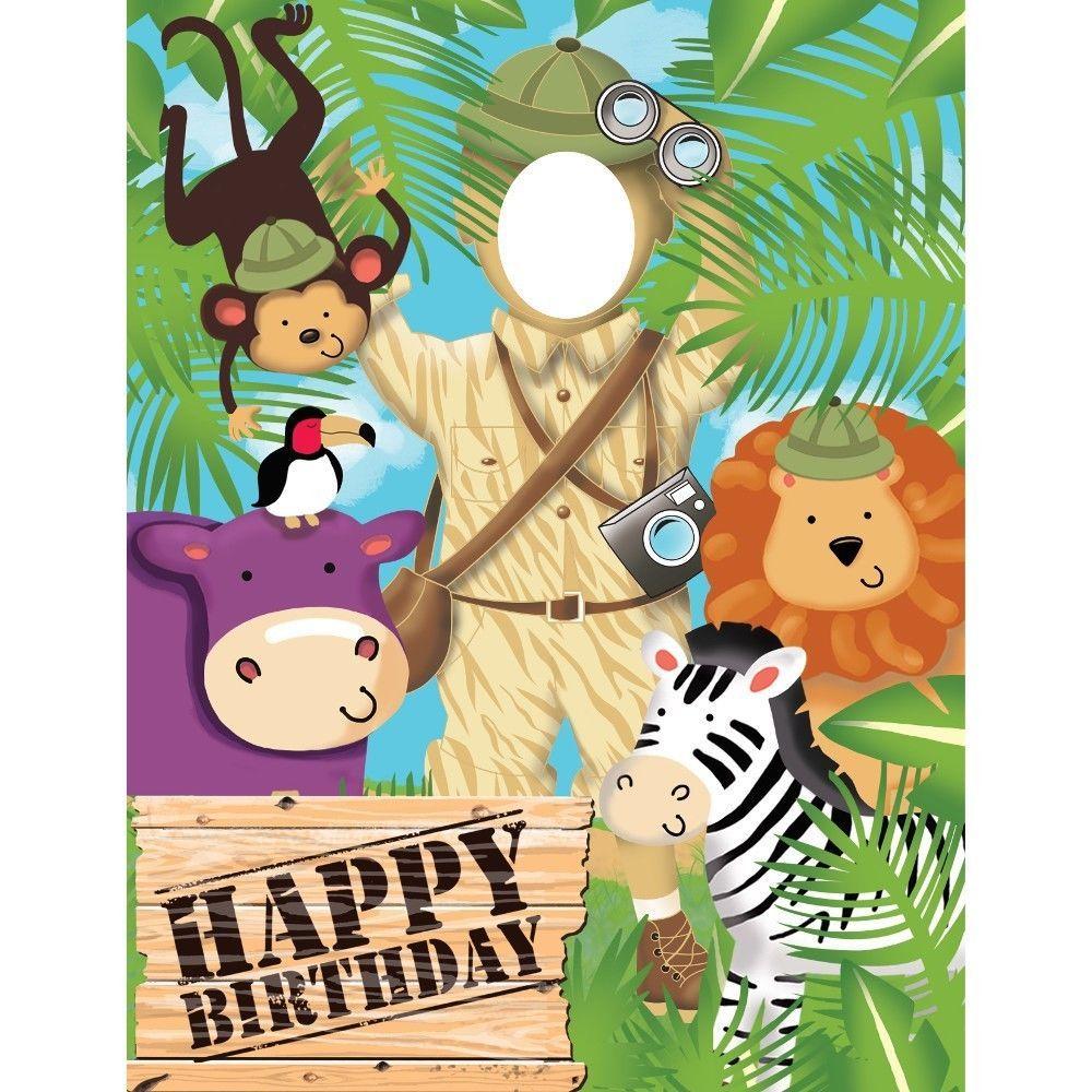 safari adventure photo door banner party game decoration jungle