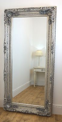 Chelsea Silver Ornate Leaner Antique Floor Mirror 36\