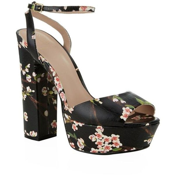 KG Kurt Geiger Hero Floral Platform Sandal ($200) ❤ liked on Polyvore featuring shoes, sandals, chunky block heel sandals, strappy platform sandals, party shoes, floral shoes and chunky platform sandals