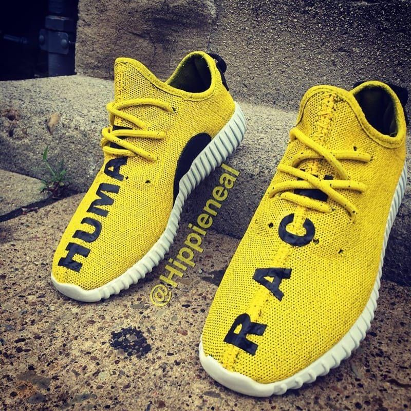 adidas Yeezy 350 Boost Human Race Yellow Custom by Hippie Neal - adidas  Yeezy 350 Boost Customs  b79068d95