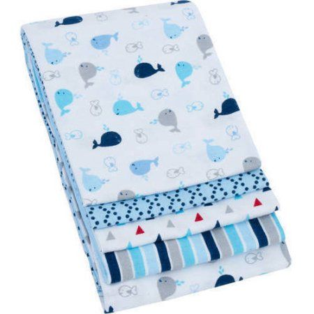 Walmart Swaddle Blankets Garanimals 4Pack Receiving Blankets Blue Assorted  Baby List