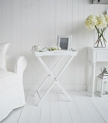 Genial A White Butler Tray Side Table. Ideal As A Guest Table In The Living Room  As It Folds Away