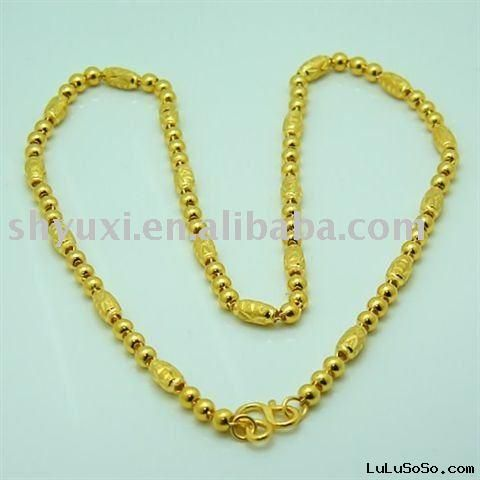 24K Chinese Gold Jewelry Solid 24K Yellow Gold Luck Beads Necklace