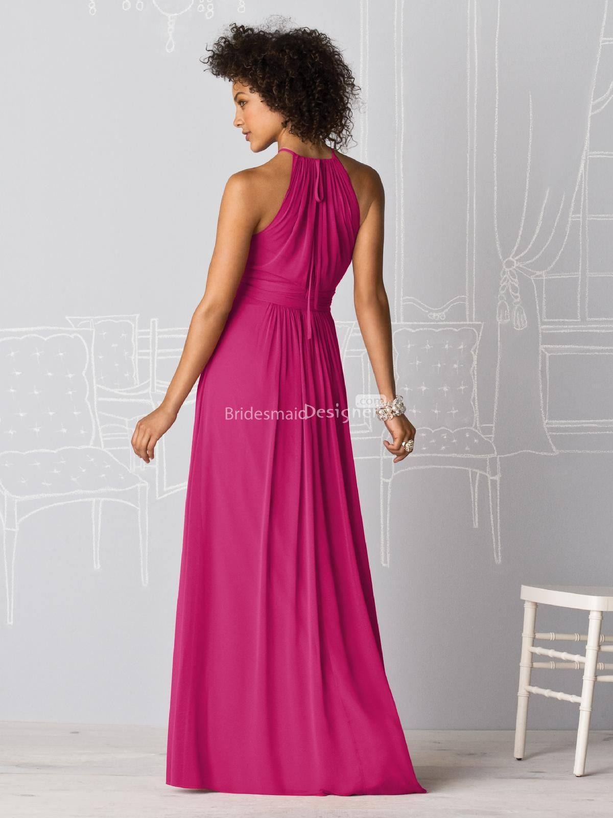 gorgeous rosy halter sleeveless floor length pleated chiffon ...