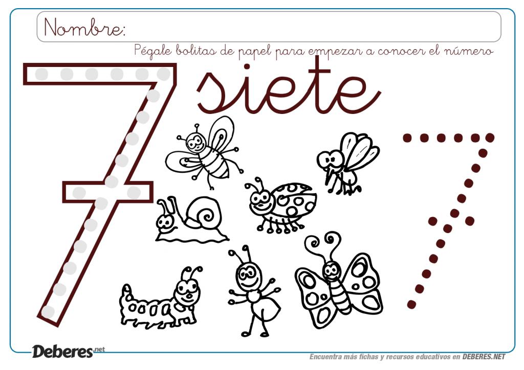 Ficha Del Numero 7 Para Colorear Y Pegar Bolitas Fichas Imprimibles Para Preescolar Diseno De Alfabeto