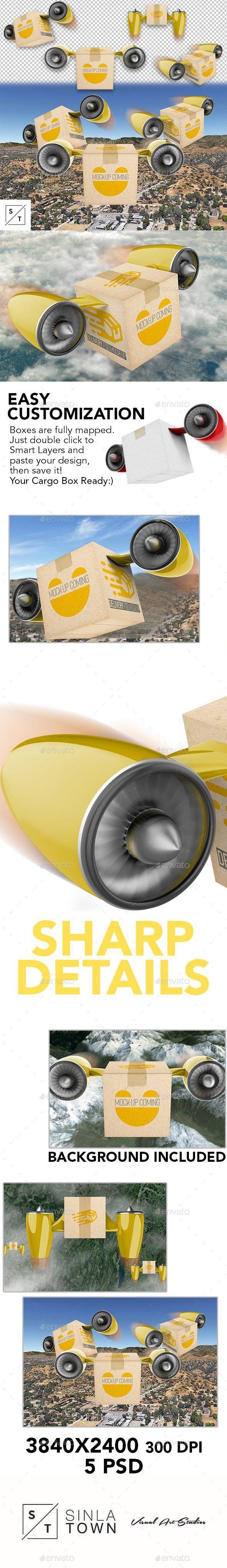 Download Delivery Cargo Drone Box Psd Mockup Mockup Psd Mockup Psd