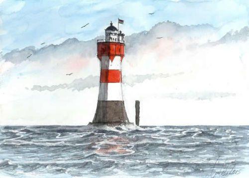 Leuchtturm Roter Sand 17 X 24 Cm Original Aquarell U Koch Strand