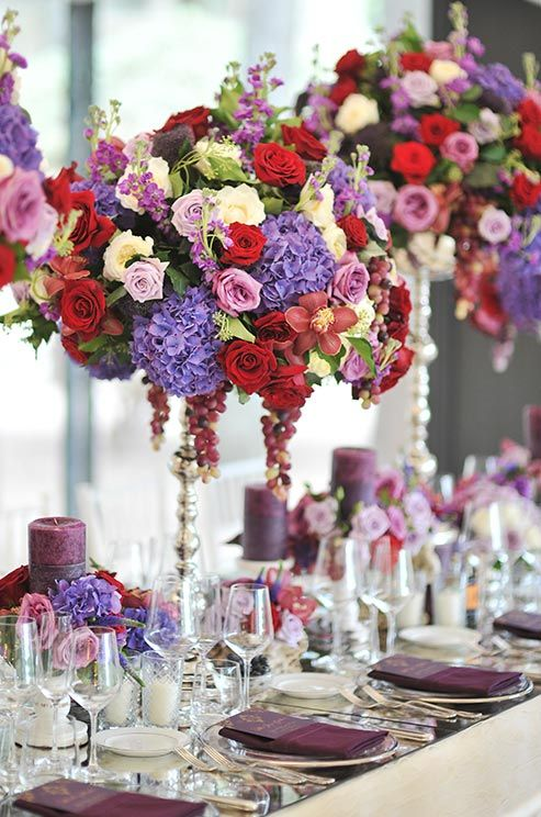 Lavander And Red Flowers For Wedding Wedding Reception
