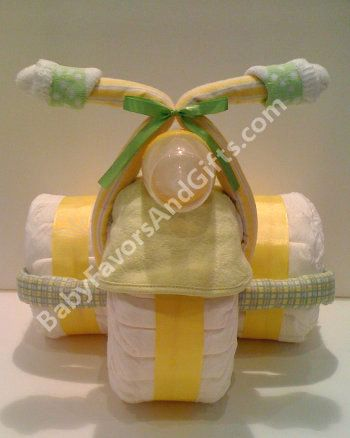 Neutral Tricycle Diaper Cake, baby shower gift ideas, diaper cakes