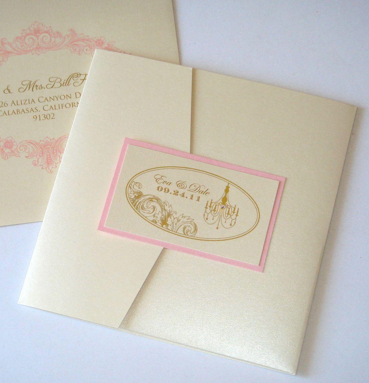 Eva Vintage Square Pocketfold Wedding Invitation Sample - Ecru, Gold ...