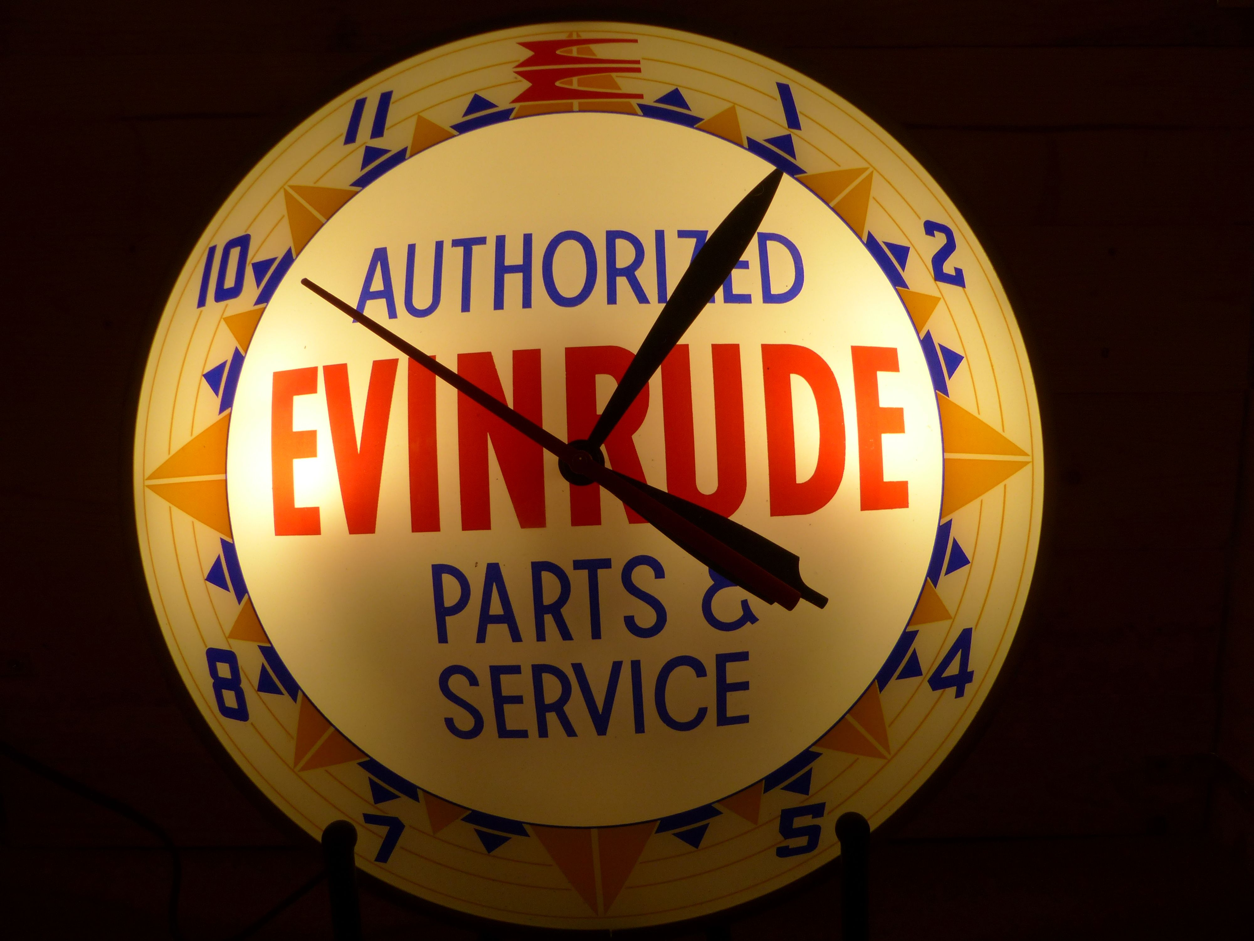 Evinrude Outboard Motors double bubble lighted wall clock