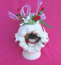 Sugar Christmas Panoramic Round Egg Cake Decoration Gum Paste Rosebud & Flowers