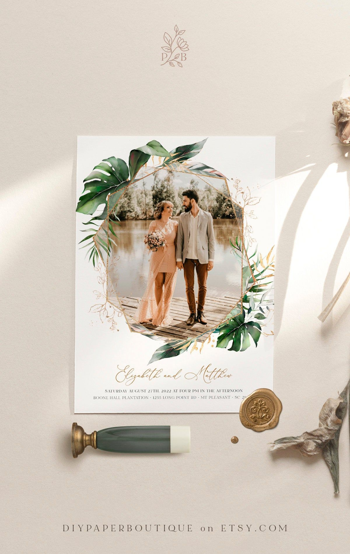 Botanical Editable Invites Greenery Invitations Tropical Picture Wedding Invite Photo Wedding Invitation Template PAIGE Picture Invite