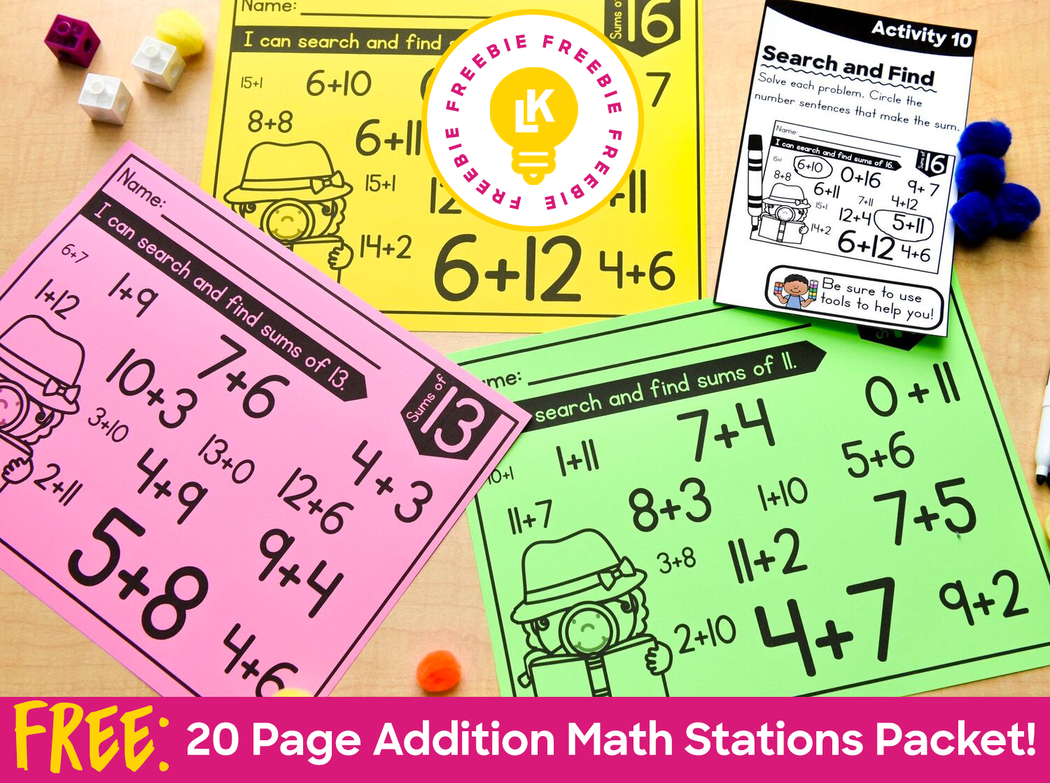 Free 20 Page Addition Math Stations Packet From My Hands On Math Bundle