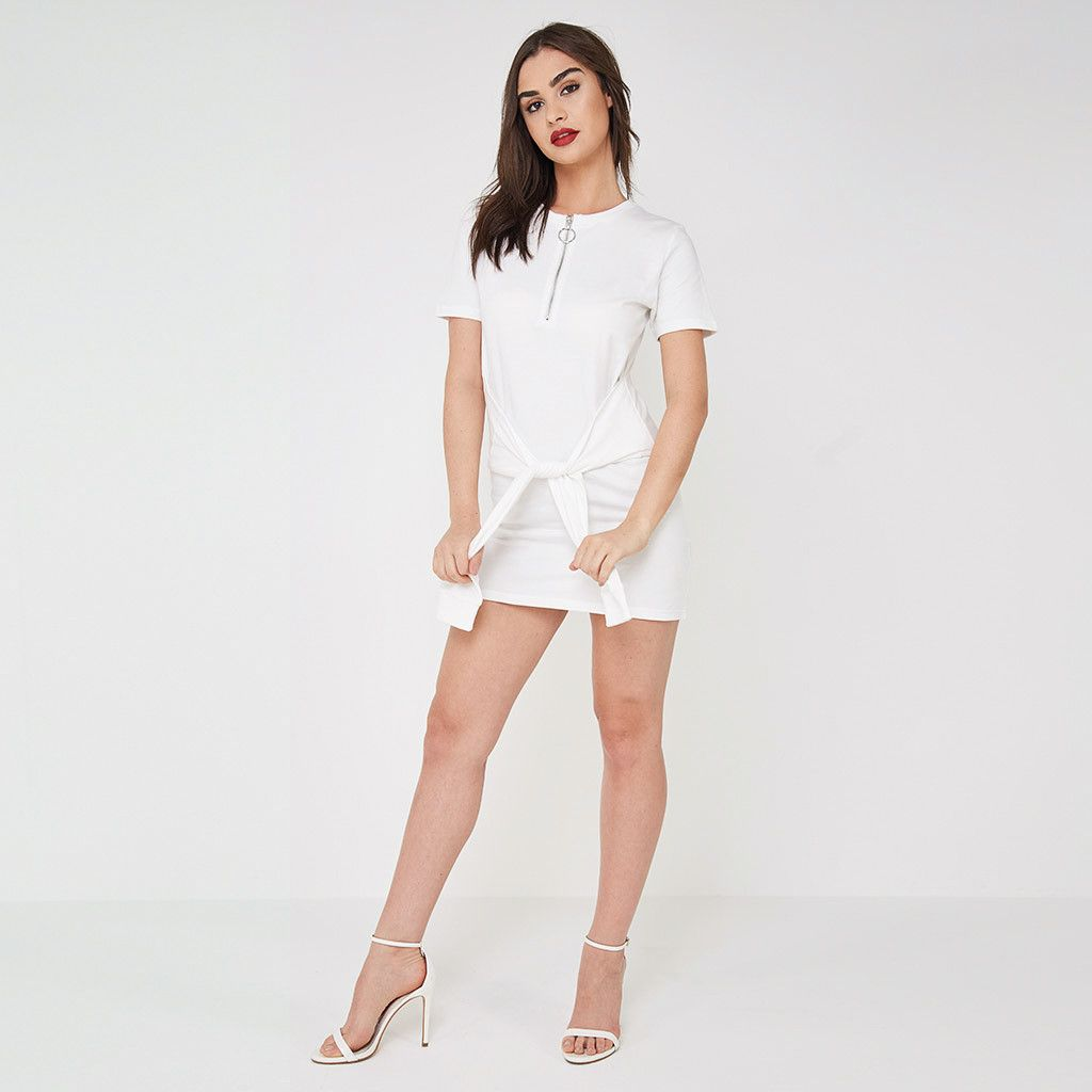 Tie-Waist T-Shirt Dress - White