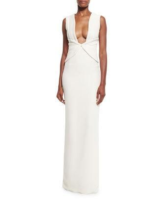 Plunging+Corset+Silk+Crepe+Gown,+Ivory+by+Brandon+Maxwell+at+Bergdorf+Goodman.